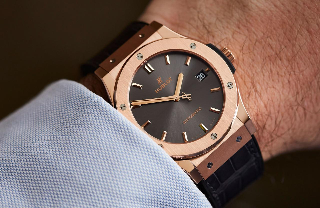 The Hublot Classic Fusion Racing Grey in King Gold on hand