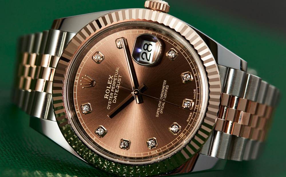 The Oyster Perpetual Datejust 41steel strip watch in hand
