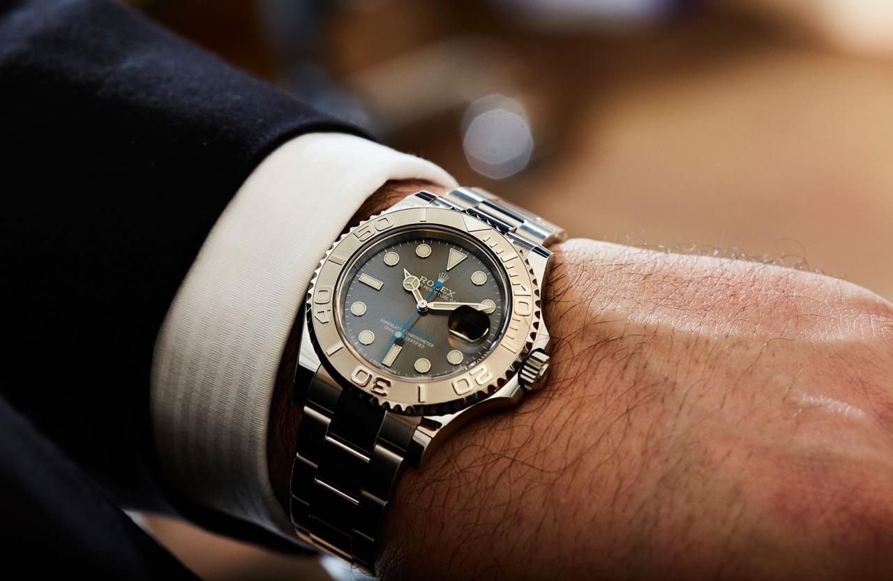 Rolex Yacht-Master 40  With Dark Rhodium Dial watch in hand